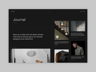 illuminate - Journal Scroll experiment responsive interiors concept minimal website ux ui digital design