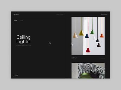 illuminate - Product Search Transition search scroll interiors responsive concept minimal website ux ui digital design