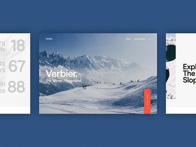Verbier Website Concept traveling winter sports skiing travel concept website ux ui digital design