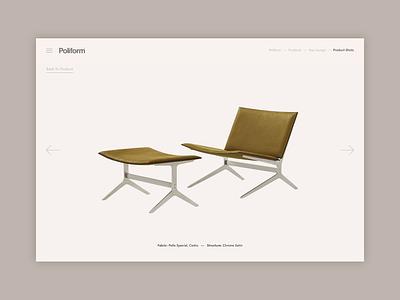 Poliform Concept - Product Feature Pages product page product experiment home interiors responsive concept minimal website ux ui digital design