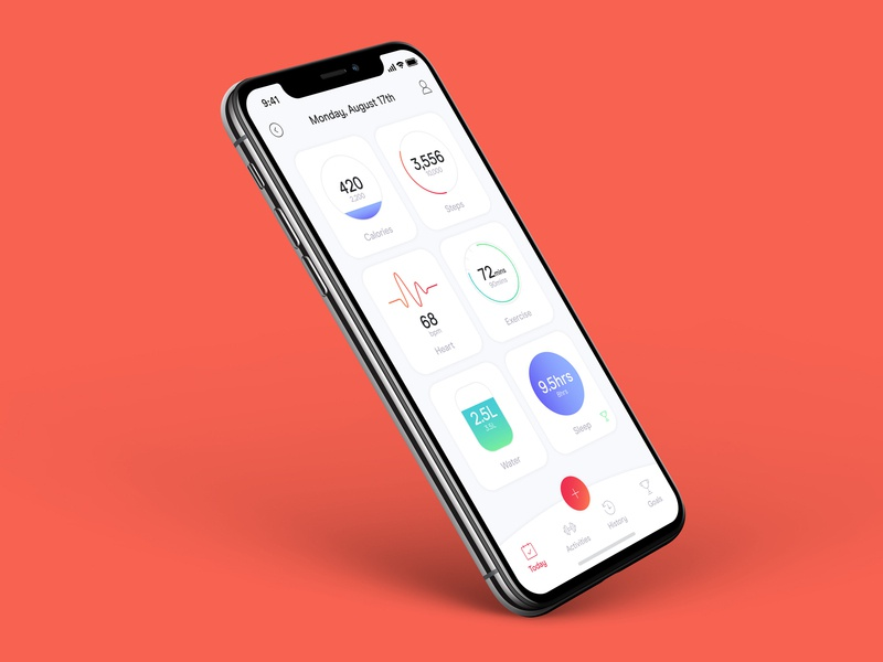 Fitness App gym results calendar counter calories health exercise tracker fitness food app minimal ux ui digital design