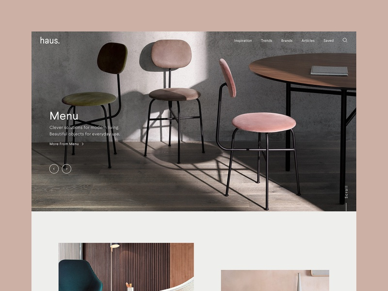haus. home interiors scandinavian scandi desktop website ui ux digital design