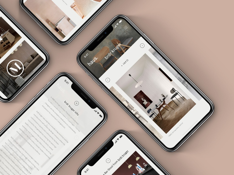 haus. responsive phone scandinavian scandi interiors website minimal ui ux digital design