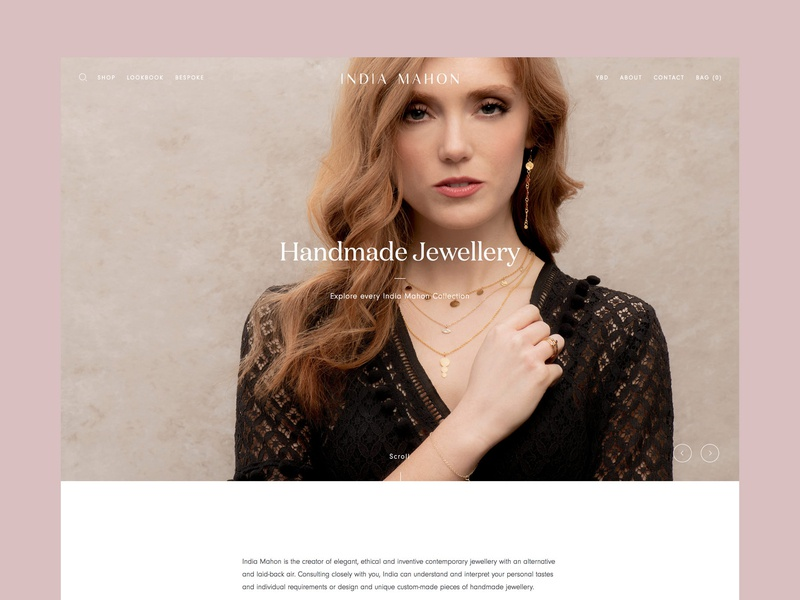 India Mahon Home Page full screen responsive shop store online ecommerce jewellery website ux ui digital design