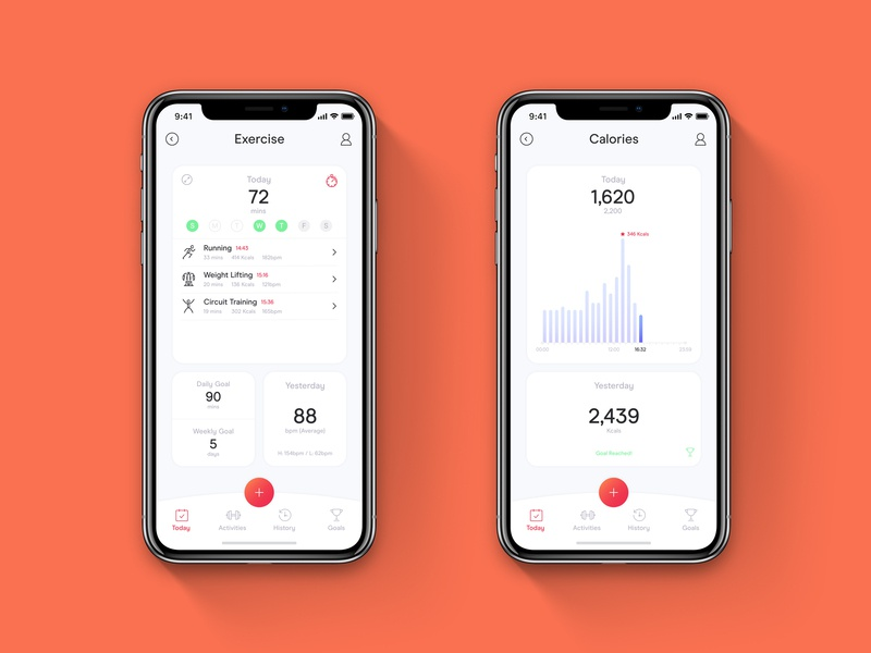Fitness App health and fitness gym exercise calorie counter health fitness app minimal ux ui digital design