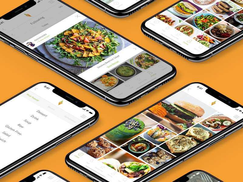 Finding Vegan redesign recipe app social app  design app vegan food ux ui digital design