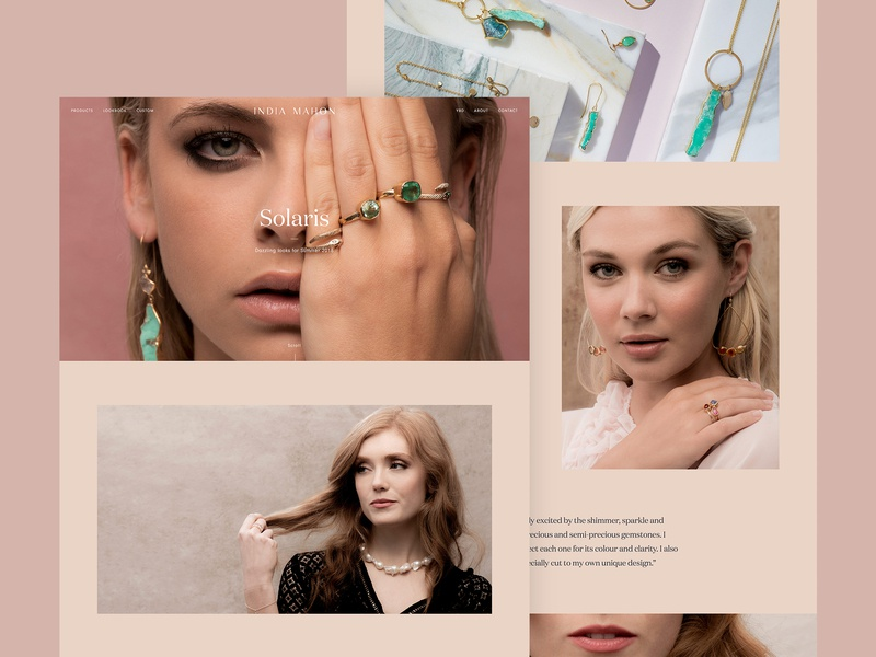 India Mahon - Lookbook luxury photoshoot photography lookbook shop store jewellery ecommerce ux ui digital design