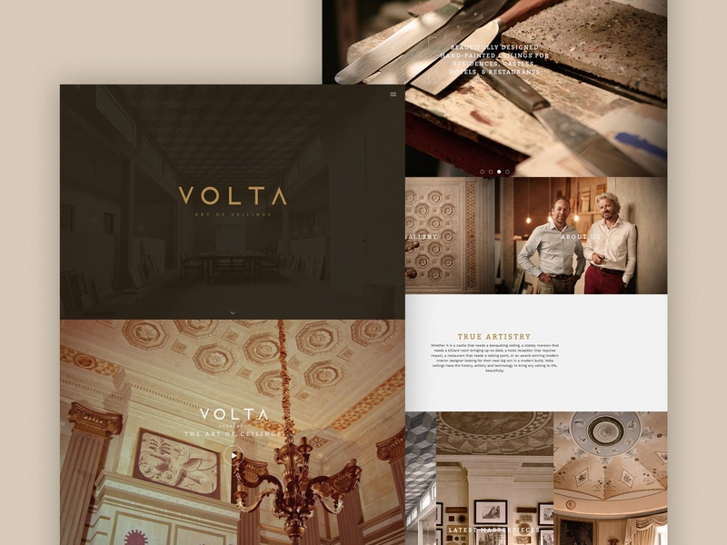 Volta Ceilings Homepage luxury branding screen snap responsive snap luxury interiors website ux ui digital design