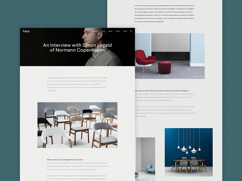 Haus responsive home interiors concept minimal website ux ui digital design