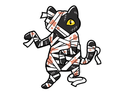Bandaged blackcat alternative adobe design digital creepy black cat cat illustration vector