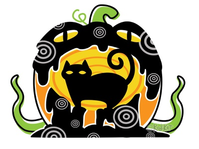 Jack's Lantern adobe alternative blackcat design digital creepy black cat cat illustration vector