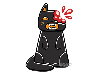 Sweet Tooth blood blackcat alternative adobe design digital creepy black cat cat illustration vector