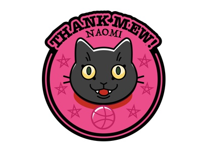 Thank Mew black cat kitty logo shot illustration vector thanks cat