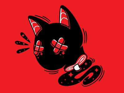 Head Roll black cat bandaid blood headless flat creepy vector illustration cat
