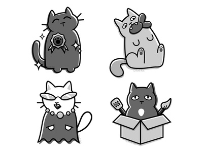 Cat Icons caticon grey grayscale cute adobe illustration vector buttons commission icons icon cat
