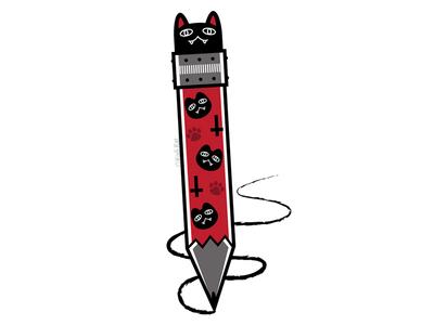 Cat Pencil pencil creepy cute design digital adobe cat black cat illustration vector