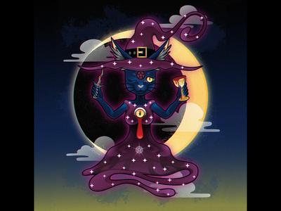 Witch Cat blackcat alternative blood design digital cute adobe creepy cat black cat illustration vector