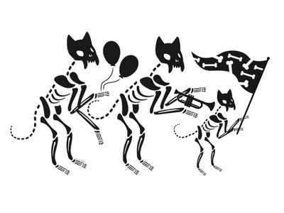 Skeleton Parade skeleton parade bones digital blackcat alternative adobe cute creepy cat black cat illustration vector