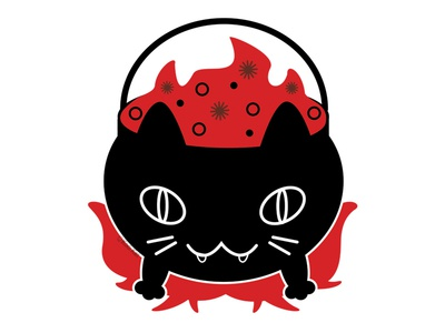 Cat Cauldron fire brew cauldron blackcat alternative design digital cute adobe creepy cat black cat illustration vector
