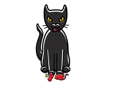 Rat Queen queen blood rat blackcat alternative design digital cute adobe creepy black cat cat illustration vector