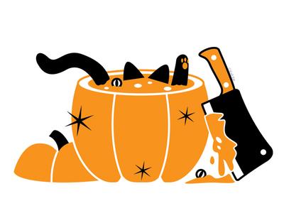 Pumpkin Butcher butcherknife pumpkin blackcat alternative design digital adobe creepy black cat cat illustration vector