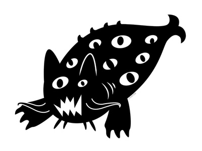 Nautical Terror catfish blackcat alternative design cute digital adobe creepy black cat cat illustration vector