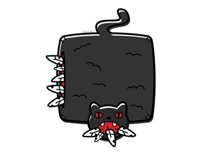 Feathered Howler feathers pillow blackcat alternative design cute digital adobe creepy black cat cat illustration vector