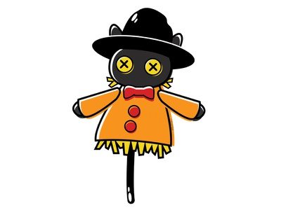 Button-Eyed Scarecrow scarecrow blackcat alternative design cute digital adobe creepy cat black cat illustration vector