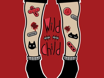Wild Child bandaid blackcat blood alternative design adobe digital creepy black cat cat illustration vector