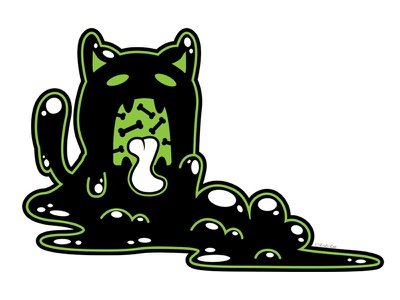 Goopy Goobler slime bones goop blackcat alternative design cute digital adobe creepy black cat cat illustration vector
