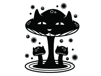 Fungus Collector mushroom fungus alternative design cute digital adobe creepy black cat cat illustration vector