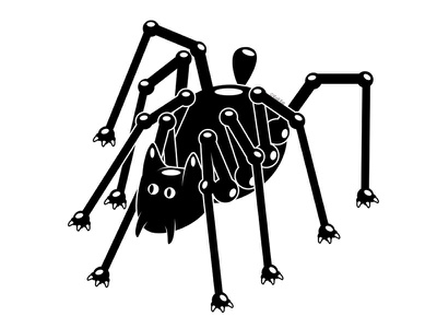 Daddy Long Legs spider alternative blackcat design digital adobe creepy cat black cat illustration vector