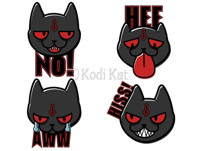 Hell Cats cute blackcat alternative design digital creepy black cat cat illustration vector