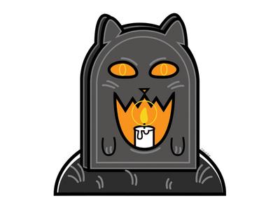 Candlelit Gravekeeper death candle tombstone gravestone cute blackcat alternative design digital creepy black cat cat illustration vector
