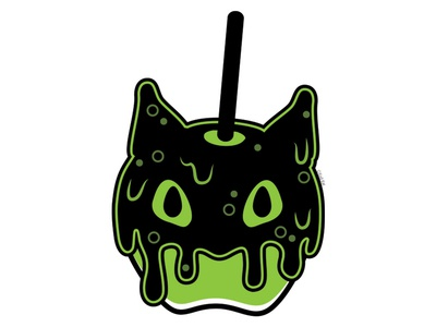 Poisoned Apple green apple cute blackcat alternative design digital creepy black cat cat illustration vector