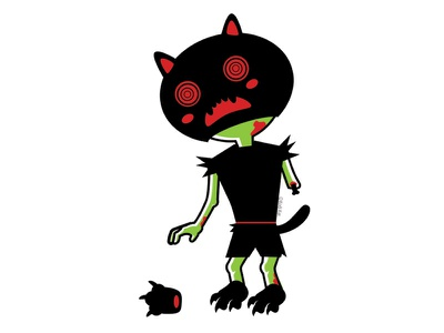Zombie Kid costume zombie blood cute blackcat alternative design digital creepy black cat cat illustration vector