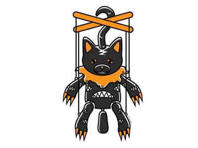 Possessed Marionette marionette blackcat alternative design digital creepy black cat cat illustration vector