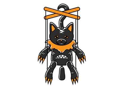 Possessed Marionette marionette blackcat alternative design digital creepy black cat cat illustration vector