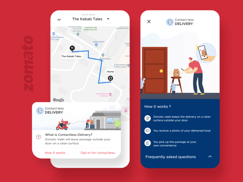 Contactless deliveries by Zomato delivery coronavirus covid19 aesthetic designer uidesign delivery service dribbble uiux figma delivery app zomato design ui user interface user experience india