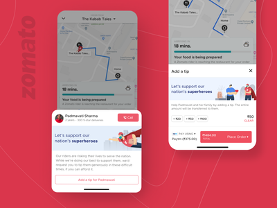Rider Tipping Visiblity support helping zomato mobile ui user interface design red valet tipping dribbble invite dribbble best shot designer design dribbble interaction aftereffects user interface user experience
