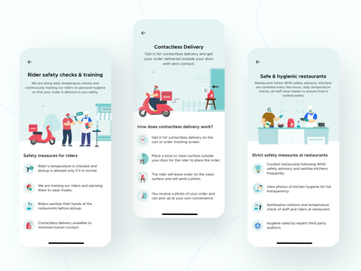 Ensuring your order is safe at every step safety rider restaurant aesthetic covid-19 zomato india dribbble invite dribbble best shot dribbble interaction aftereffects user interface user experience