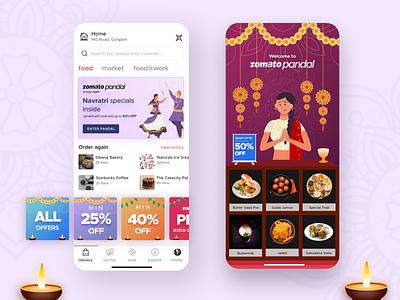 Zomato Pandal mobile festive humanizing food delivery app navratri diya festival durga pooja zomato india design dribbble invite dribbble best shot dribbble user interface user experience