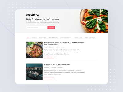 Introducing Zomato TLDR! newsletter food news aesthetic designer india zomato interaction dribbble best shot dribbble invite dribbble user interface user experience