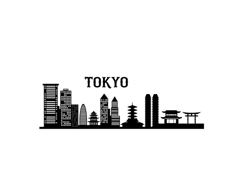 Tokyo city skyline silhouette background. Vector illustration vector illustration urban header web flat warehouse town skyscraper landscape silhouette skyline business concept cityscape city city lanscape background building apartment architecture