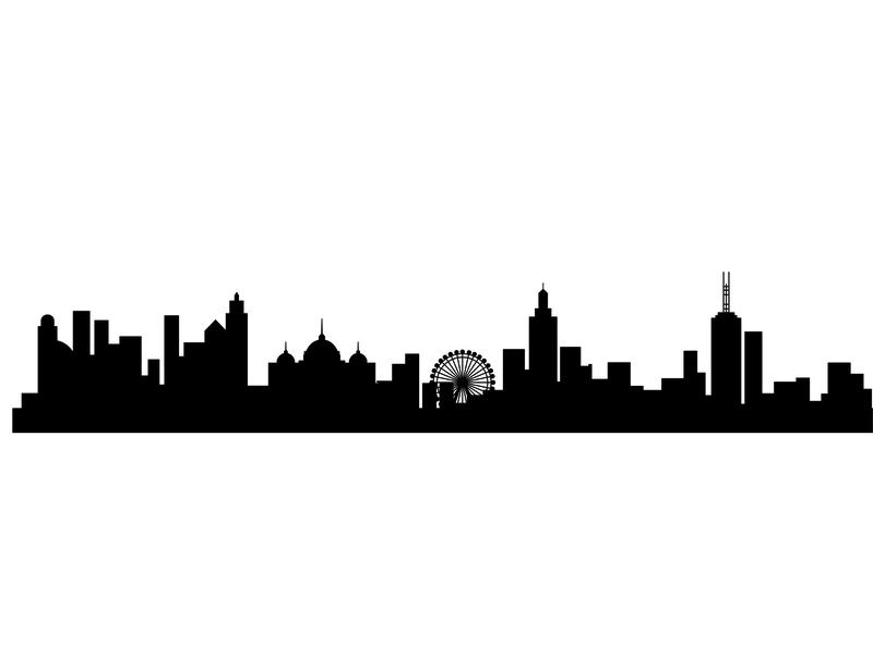 Melbourne City flat urban house town vector illustration landscape skyscraper header web skyline silhouette cityscape city city lanscape concept apartment building business background architecture