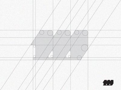 'm' Monogram grid process