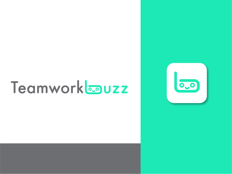 Teamworkbuzz chat bot chat app social media app app character icon typography logo branding design