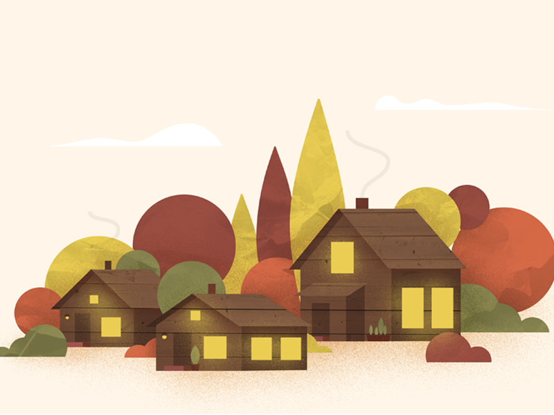 Cabins in the Woods retreat center cabins seasons illustration woods leaf cabin autumn fall