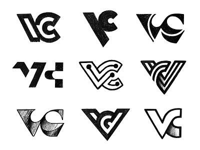 VC others / Sketches vc logo c v vc logo mark symbol negative space logotype typography letter monogram symbol mark logo
