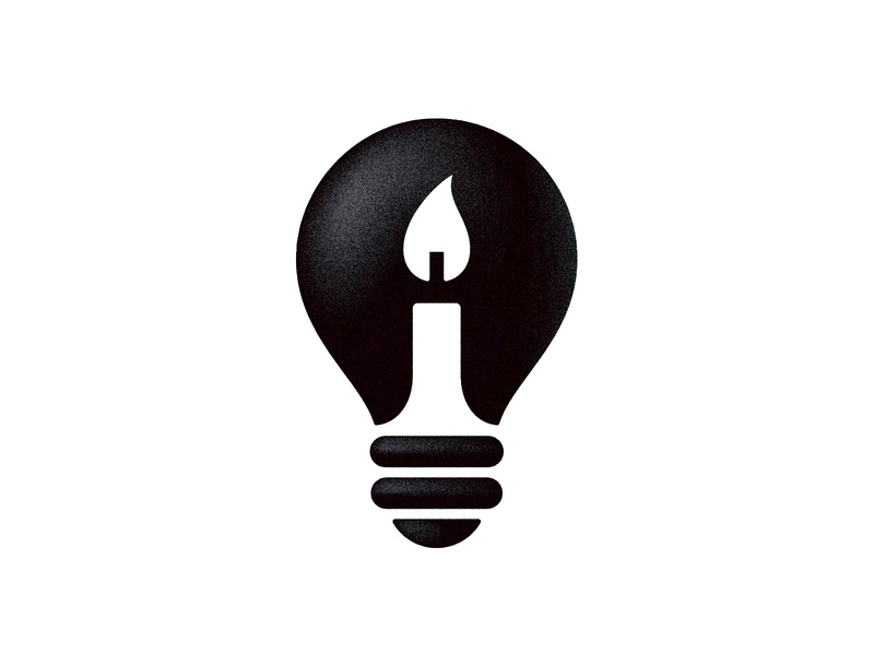 Bulb + Candle negative space logo negativespace candle lamp bulb logo bulb symbol mark logo